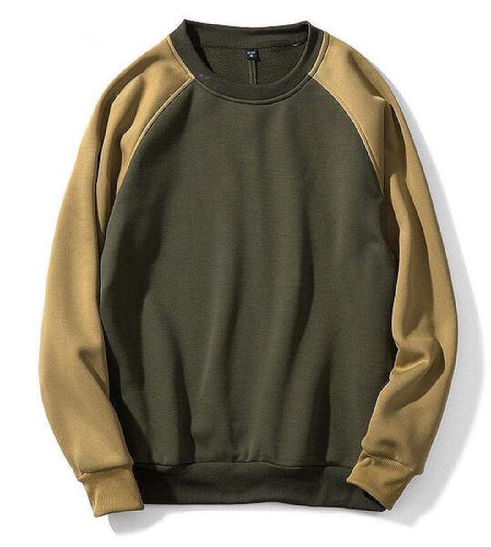 Rrive Men Baggy Patchwork Pullover Long Sleeve Round Neck Sweatshirt