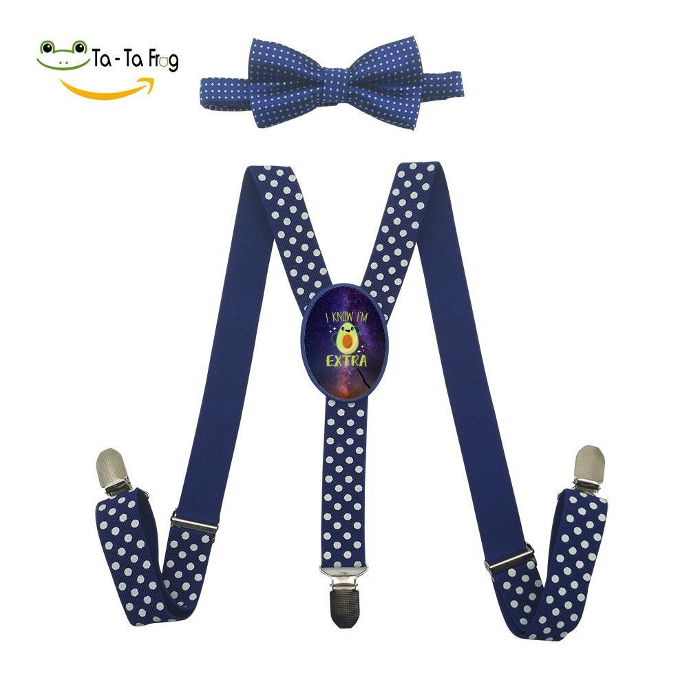 Xiacai I Know IM Extra Suspender/&Bow Tie Set Adjustable Clip-On Y-Suspender Kids