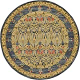 Unique Loom Edinburgh Collection Oriental Traditional French Country Navy Blue Round Rug (6′ x 6′)