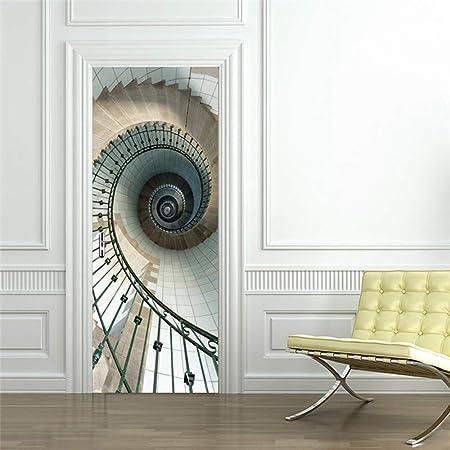 XIAOXINYUAN 3D Etiqueta De La Puerta Escalera Espiral DIY Extraíble Murales Adhesivos Wallpaper para Habitación Dormitorio Puerta Decoración para El Hogar: Amazon.es: Hogar