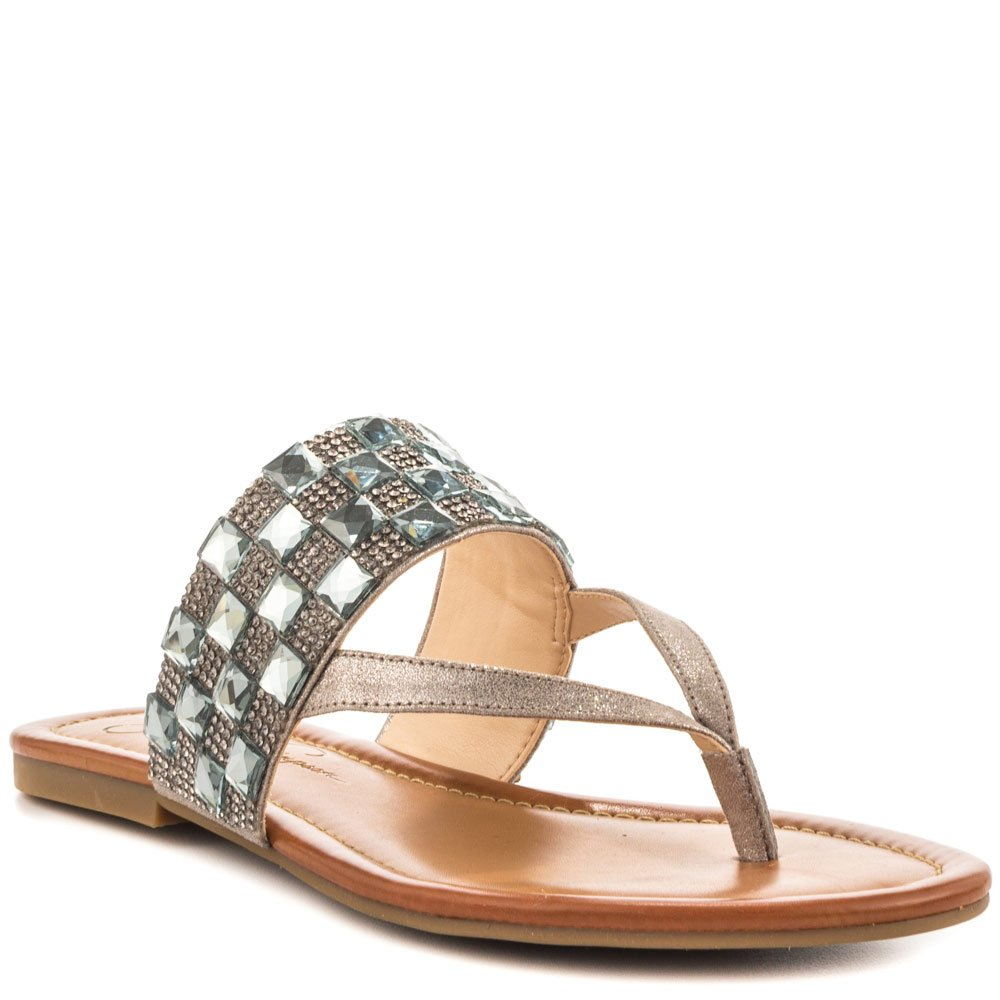Jessica Simpson Women's Kampsen Dress Sandal, Gunmetal, 6 M US