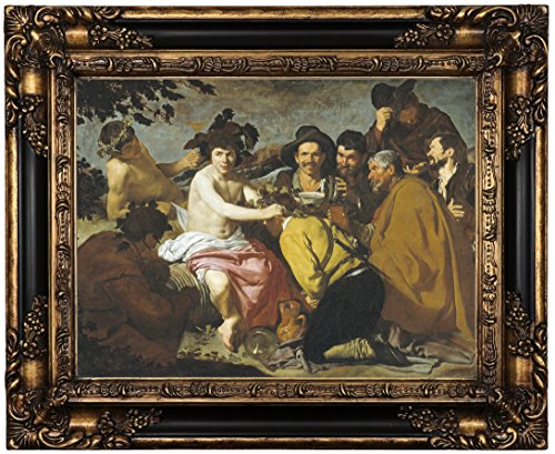 Historic Art Gallery the Triumph of Bacchus (the Drunkards) 1628 by Diego Velazquez Framed Canvas Print, 12