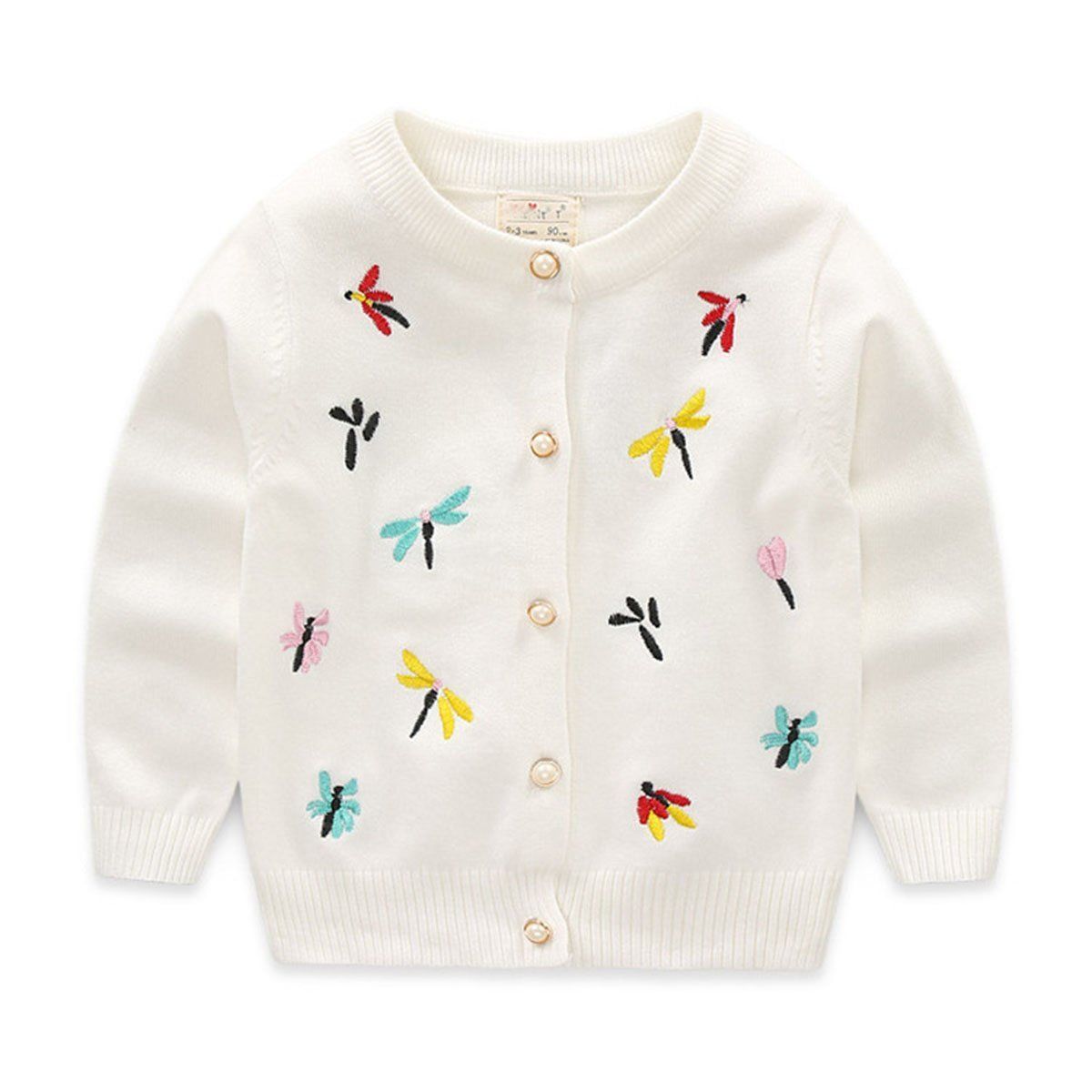 TAIYCYXGAN Baby Little Girls Princess Cardigan Knit Sweaters Kids Dragonfly Cotton Sweater Jacket Button-Down White 110