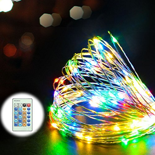 Juzihao 33Ft Copper Wire Multi Color 100 LEDs Strings Light Decorative with 12V Power Adapter with Remote Control for Weddings, Garden, Patio, Tree, Party, Bedroom, Xmas