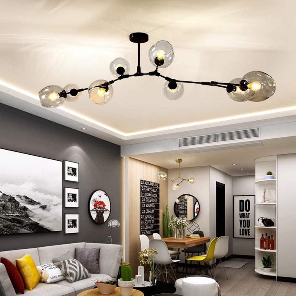 Black Body, Grey Shade MoreChange Modern Chandelier Light with 8 Gradient Glass Shade Fixture Ceiling Pendant Lighting for Kitchen Island Dining//Living Room Bedroom