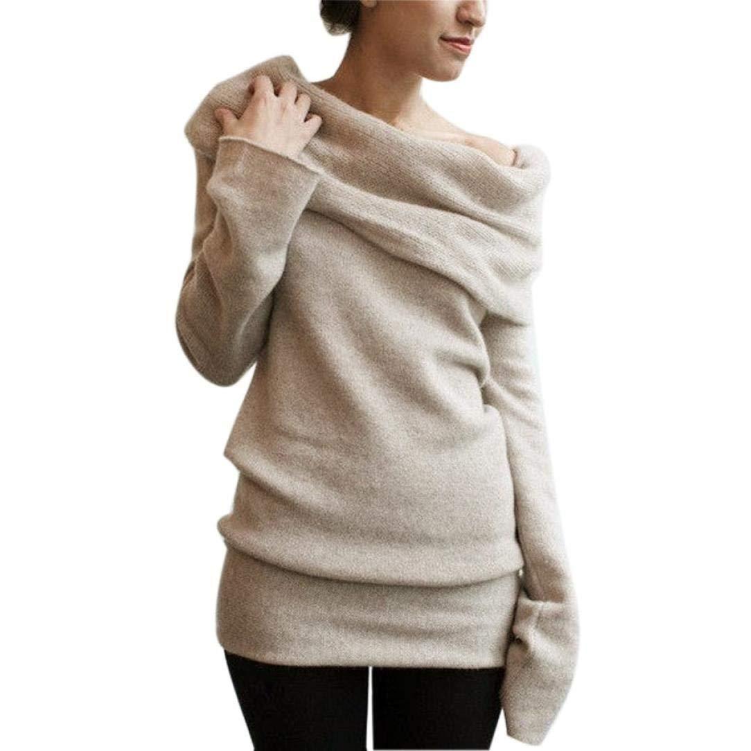 Camicia Donna Manica Lunga Pullover Felpa con Ragazza Elegante Cappuccio Moda Fuori Spalla Maglione Maglione Autunno Inverno