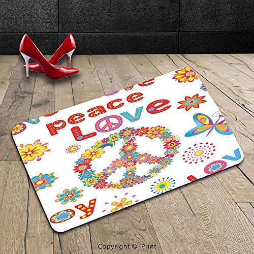Custom Machine-washable Door Mat 1960S Decorations Collection Flower Power Sunlights Sunny Love Peace Joy Floral Buttery Spring Festival Wreath Design Indoor/Outdoor Doormat Mat Rug (Minions Phrases)