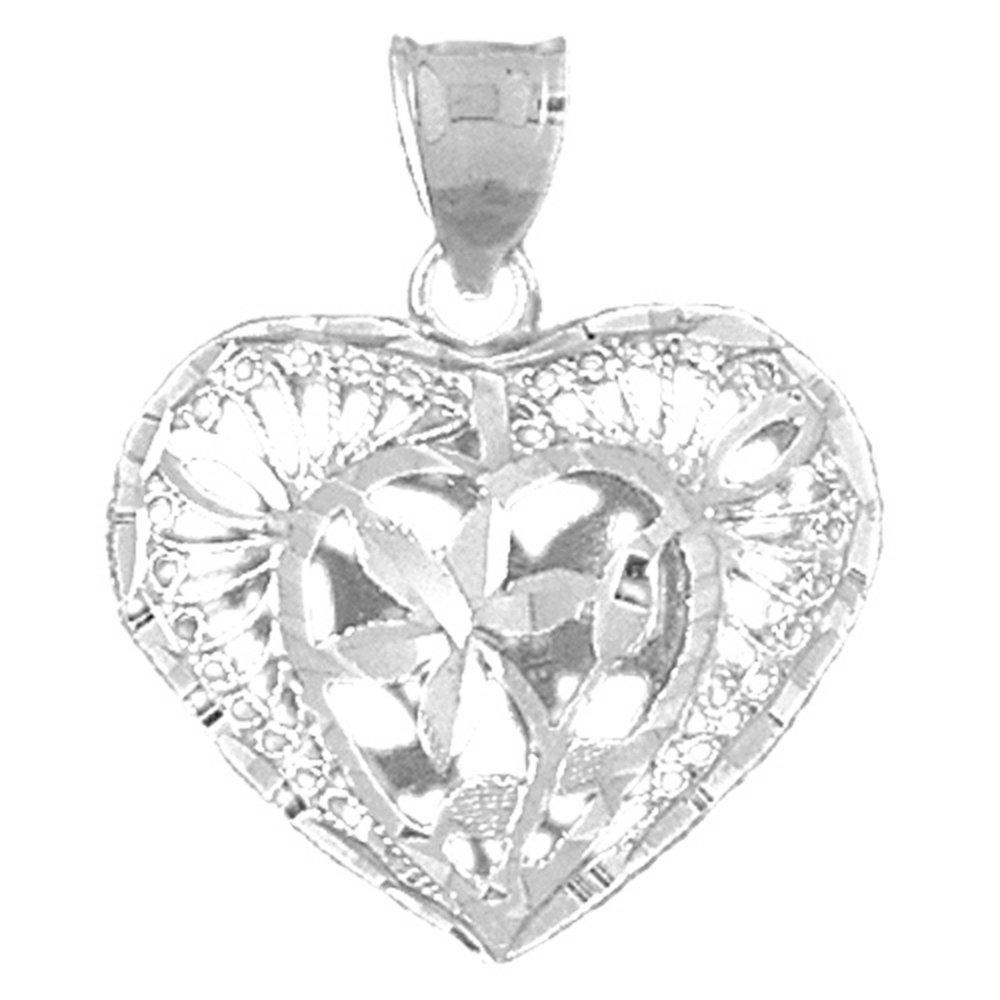 Sterling Silver 925 3D Filigree Heart Pendant 28 mm Jewels Obsession 3D Filigree Heart Pendant