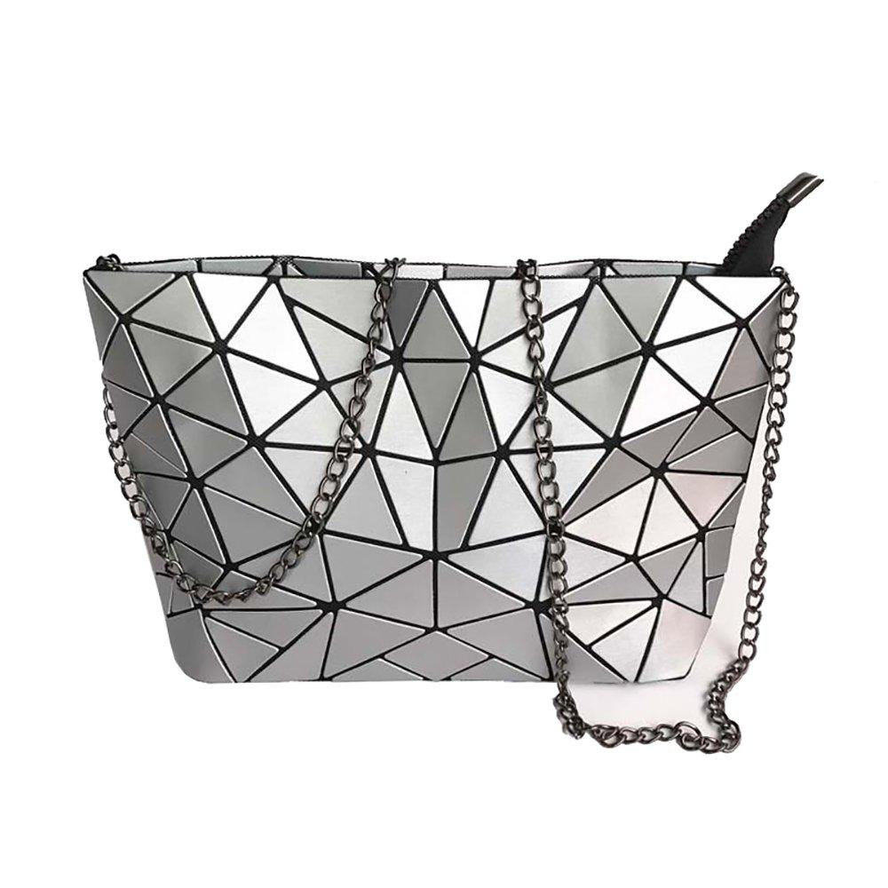 Magibag Women Hologram Geometric Diamond Lattice Plaid Shoulder Bag Handbag Purse Female Tote Bags (Silver)