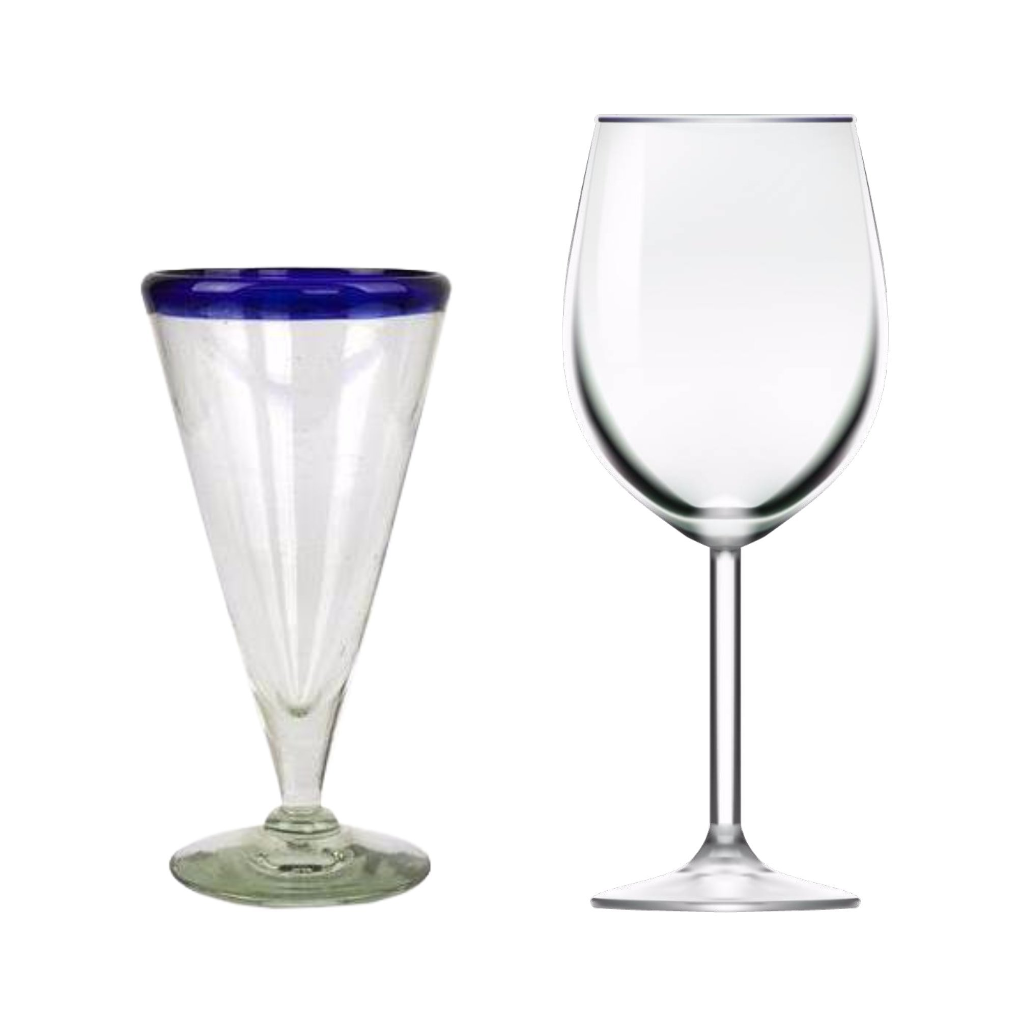 NOVICA Artisan Crafted Hand Blown Recycled Glass Clear Cobalt Blue Rim Cocktail Glasses, 8 oz 'Bohemia' (set of 6) by NOVICA (Image #3)
