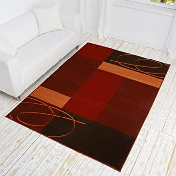 Tapis bordeaux/rouge/motif patchwork couleurs terracotta/marron/carpetcity  tapis moderne wohnzimmerteppich// wohnzimmerteppich en douceur// couleurs  ...