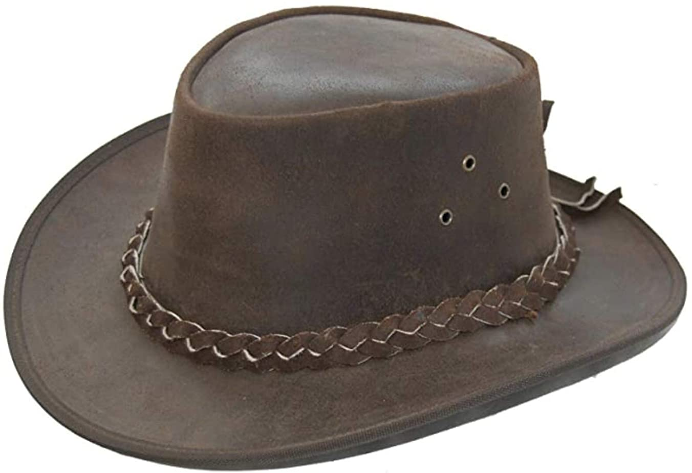 Lifestyle Clothing Australian Real Cracked Leather Cowboy Hat Crushable Brown Cow Hide Distressed Leather Hat Chin Strap Mens Womens M