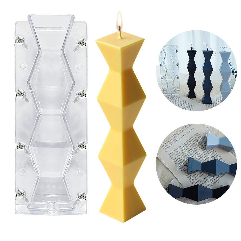 Geometric Pillar Plastic Candle Mould Long Wave Aroma Soap Candle Making Moulds for Handmade Gift Clay Craft Supplies Kit DIY