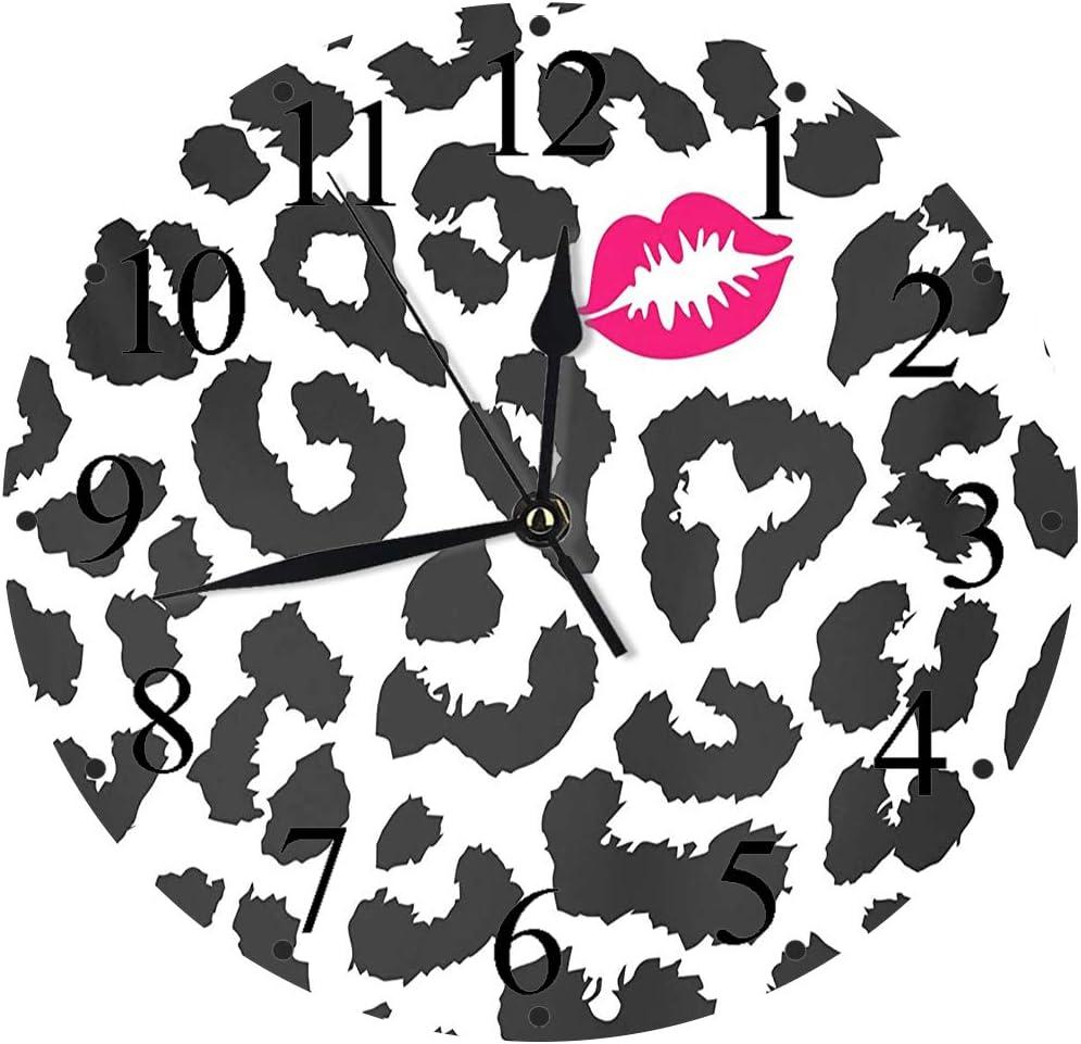 Yaoni Silencioso Wall Clock Decoración de hogar de Reloj de Redondo,Safari King Size, Leopard Cheetah Animal Print con Forma de Beso Lipstick Mark Dotted Trend,para Hogar, Sala de Estar, el Aula