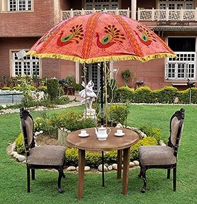 MegaCraft - Sombrilla India para jardín, Patio, Playa, sombrilla de algodón para Exteriores, diseño Floral: Amazon.es: Deportes y aire libre
