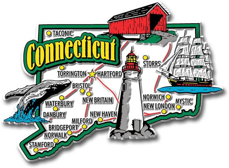 Connecticut State Jumbo Map Magnet