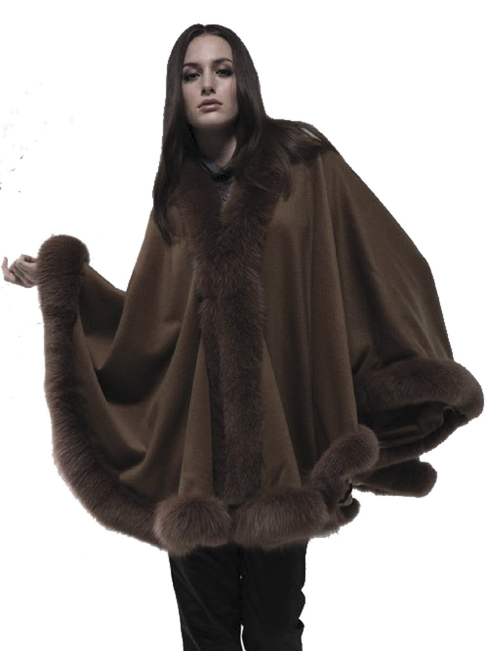 Cashmere Cape with Fox Fur trimming from Cashmere Pashmina Group (Coffee)
