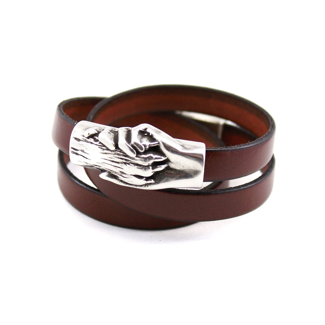 Hand and Paw Project Wrapped Leather Bracelet, Medium, Cognac