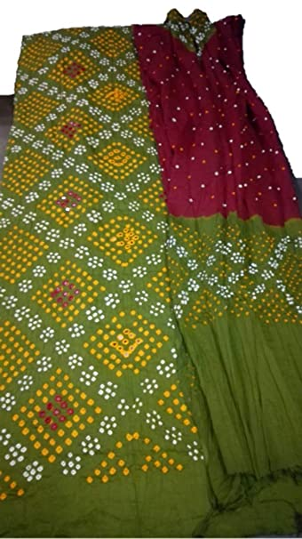 64978d0afa Cotton Satin Green Yellow Heavy Bandhej Design Salwar Suit Material:  Amazon.in: Clothing & Accessories