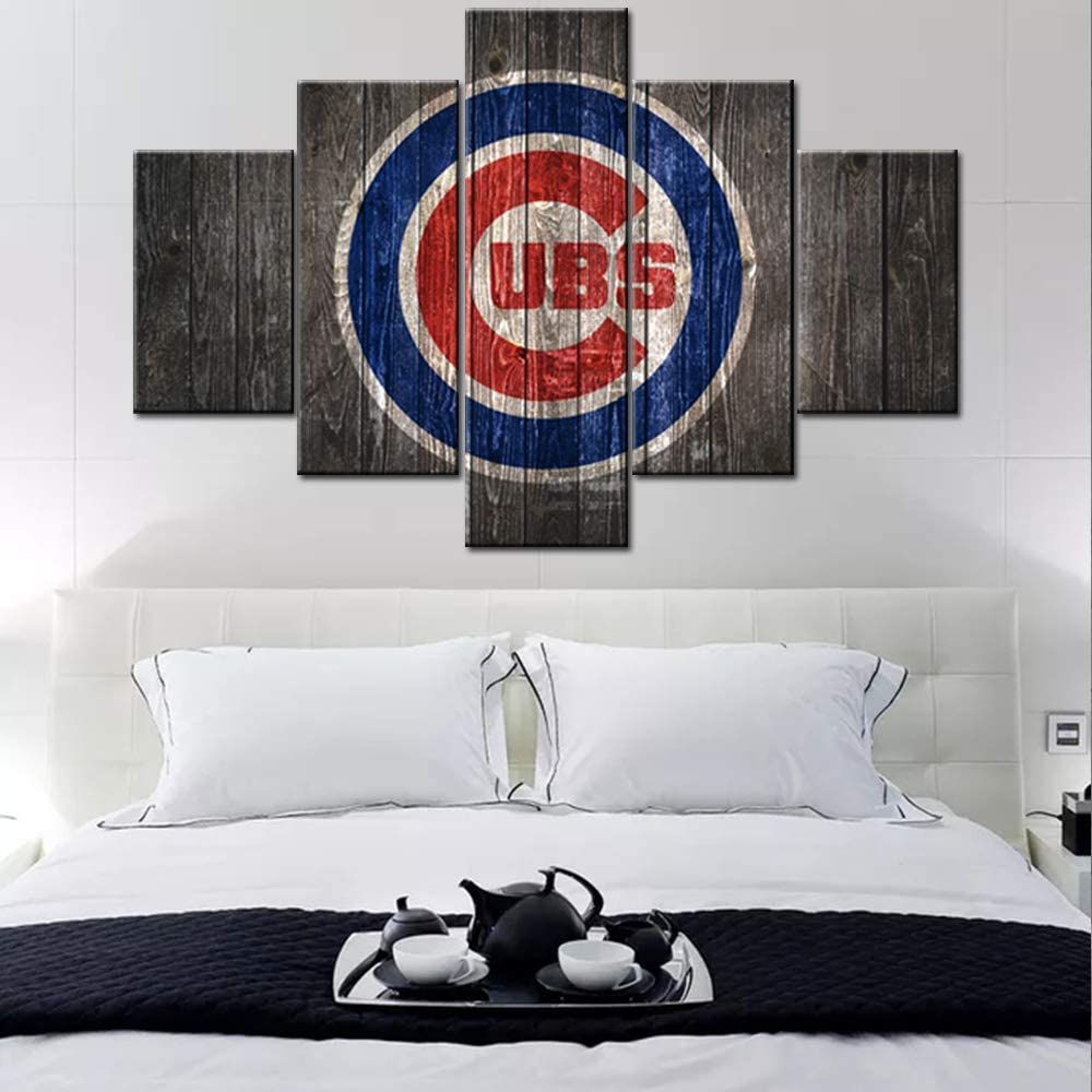 Amazon Com Sports Canvas Wall Art Chicago Cubs Logo Painting Usa Baseball Teams Art Decor Wall Poster 2016 World Series Picture 5 Large Panel Modern Home Decor Bedroom Wooden Framed Ready To Hang 60wx40h