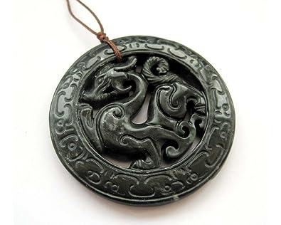 Amazon dark color stone carved dragon amulet pendant pendant dark color stone carved dragon amulet pendant mozeypictures Choice Image