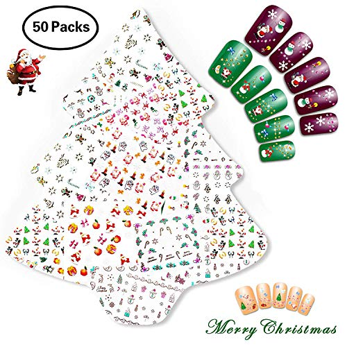 NiceDeco 50 Sheets (More Than 1500Pcs) Christmas & New Year Theme 3D Nail Stickers Santa Claus Reindeer Xmas Tree Nail Art Tattoo Nail Decals DIY Nail Art Decoration Self-adhesive Tip Stickers