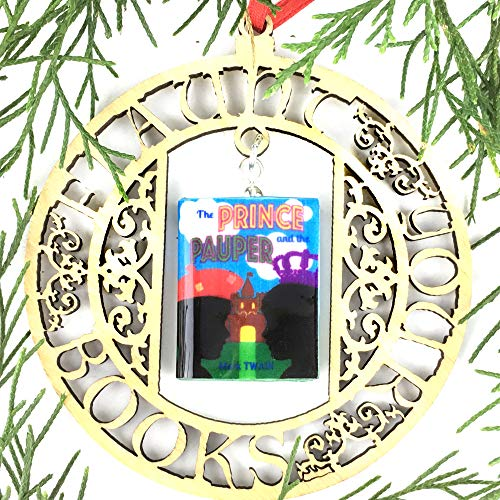 Blue Prince Frame (THE PRINCE and THE PAUPER Mark Twain Clay Mini Book FRAMED Ornament by Book Beads)