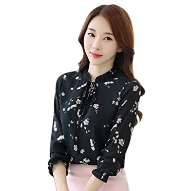 32cbd490fb9ed2 Women Long Sleeve Chiffon Floral Printed Shirt Office Lady Work T-shirt  Blouse at Amazon Women s Clothing store