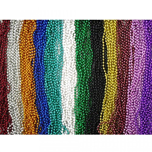 "144 Piece ~ Beaded Necklace Assortment ~ 33"" ~ Assorted Colors ~ New ~ Mardi Gras, Party Favors"