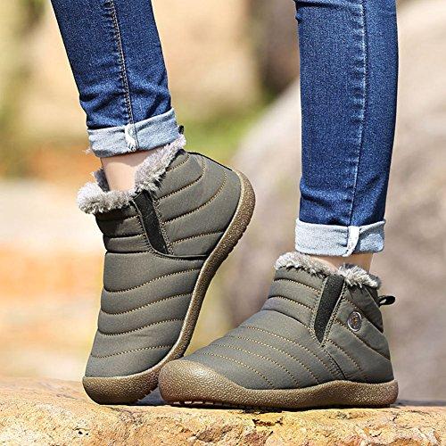 Stivaletti Grigio Neve Sportive Caloroso da Caviglia Boots Neve Uomo Scarpe Inverno Donna Stivali Hibote qBvOHB