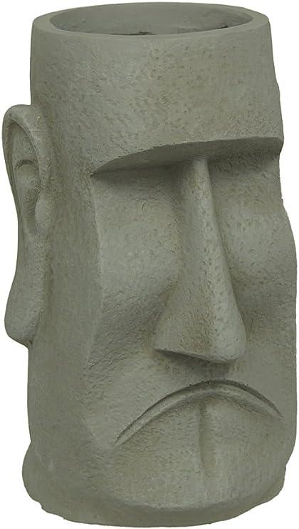Cemento macetas isla de Pascua Moai estilo maceta de arcilla 15 1/4 pulgadas de altura 10, 5 x 15.25 x 9 pulgadas gris modelo # 40476: Amazon.es: Jardín