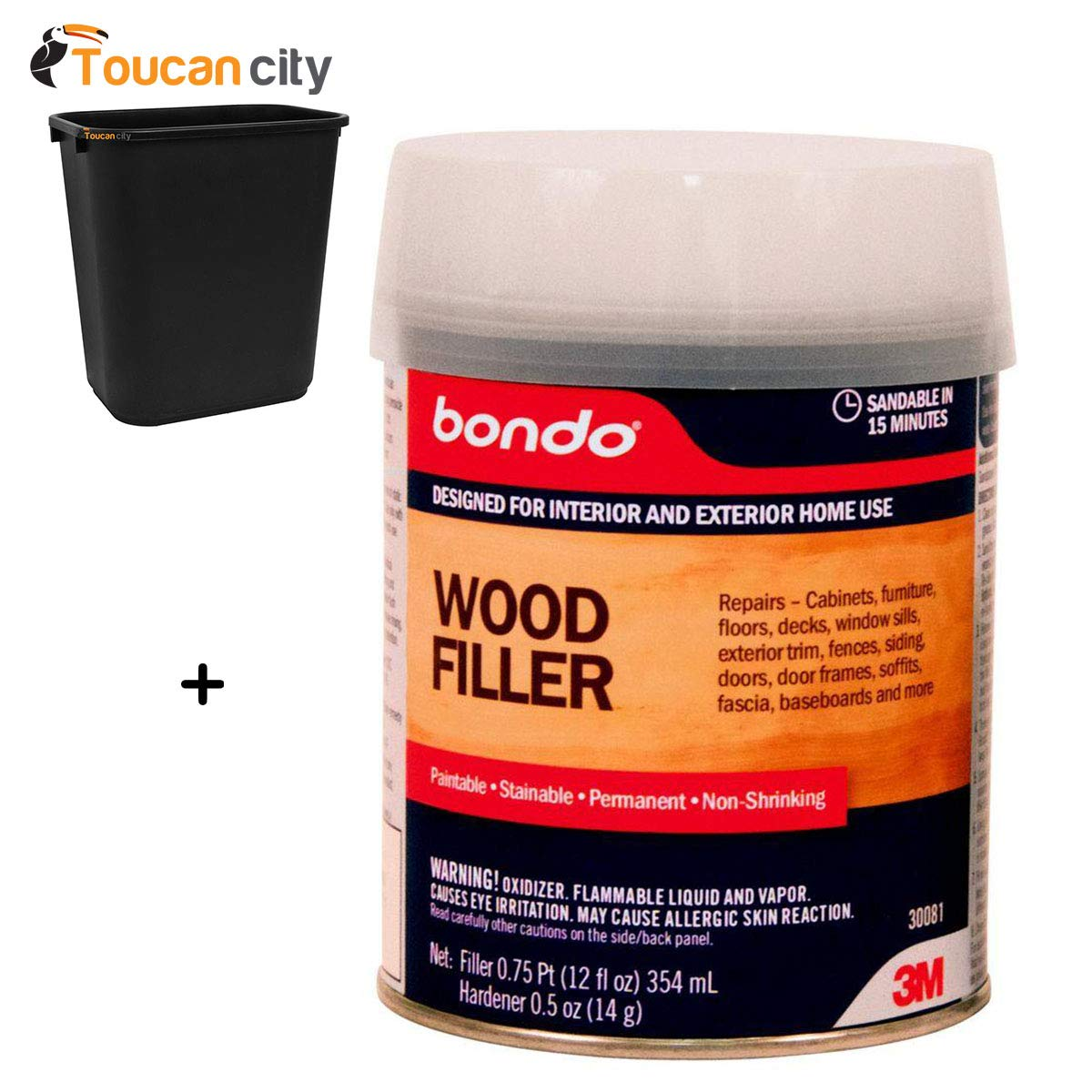 Toucan City 7 Gal Trash can and 3M Bondo 12 fl. oz. Wood Filler (Case of 4) 30081
