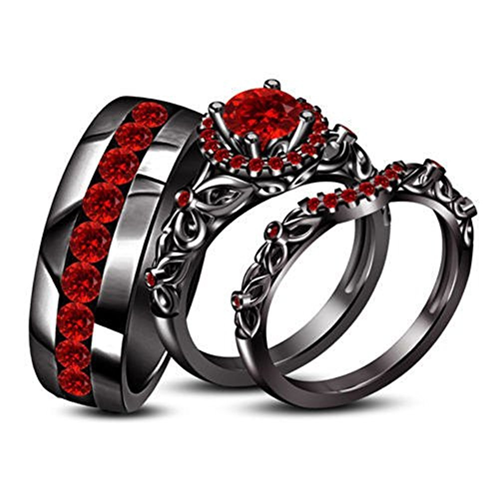 Round Red Garnet His & Her Trio Ring Set In Black Gold Plated Ladies Bridal & Men Wedding Band Ring .925 Sterling Silver CB-1001