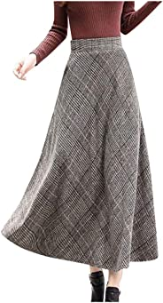 jin&Co Long Skirts for Women Long Grid Pattern High Waist A-line Flared Long Skirt Winter Fall Midi Skirt