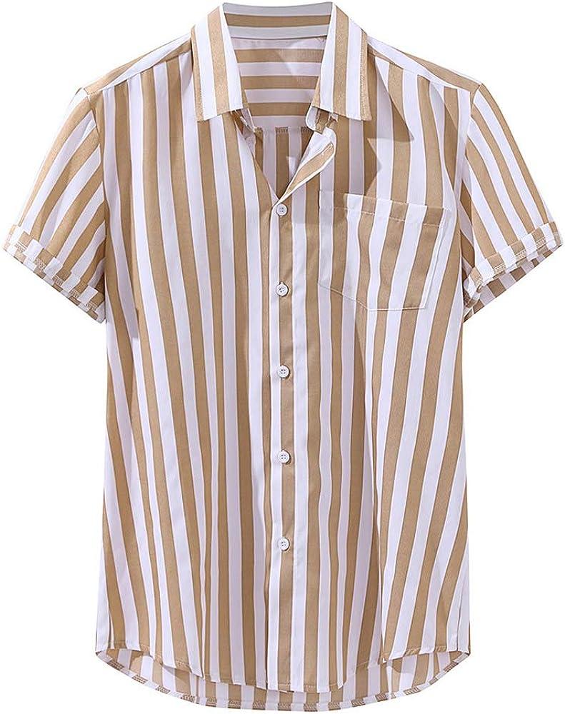 SFYZY Moda Hombre Casual Manga Corta Camiseta Slim Fit Camisa De Rayas Casual De Manga Corta Delgada para Hombre: Amazon.es: Ropa y accesorios