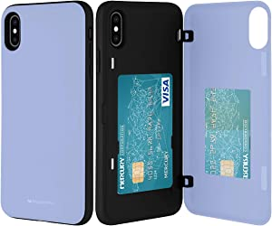 GOOSPERY iPhone Xs Max Wallet Case with Card Holder, Protective Dual Layer Bumper Phone Case (Lilac Purple) IPXSMAX-MDB-PPL
