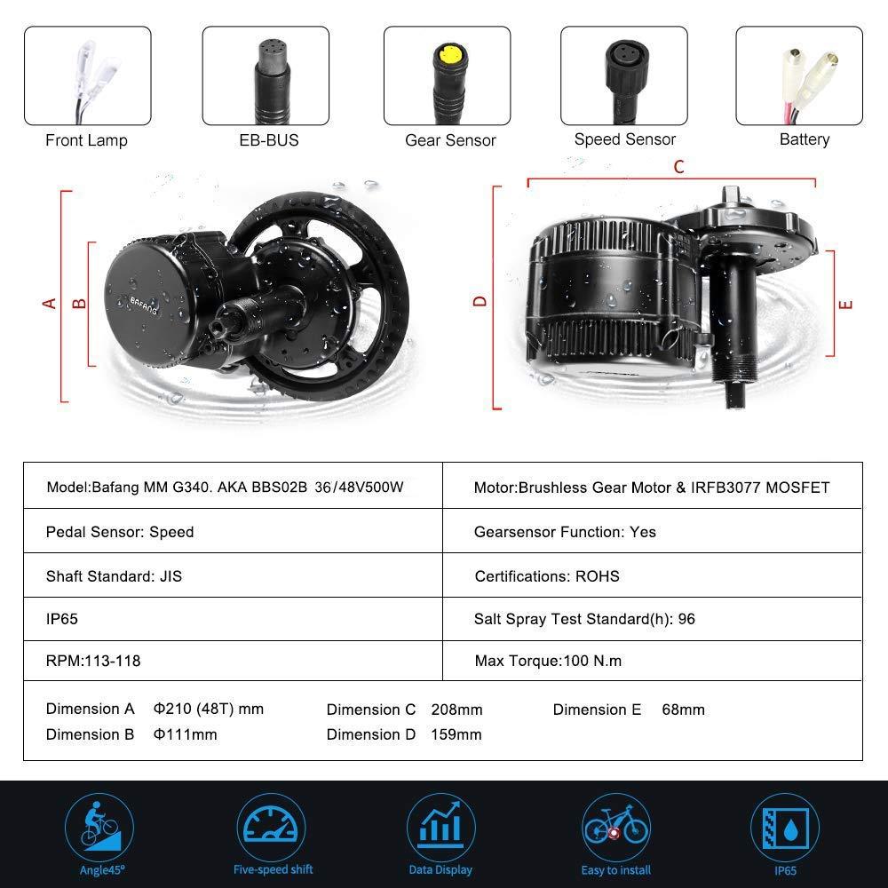 BAFANG 48V 36V 500W BBS02B E-Bike Conversion Motor Kit DIY LCD Display Electric Bike Kit with Battery and Charger