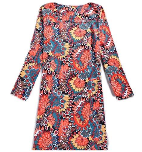 Coolred-femmes Manches Longues Col Ras Du Cou Taille Plus Classiques Du Printemps Floral Mode Robe Pattern16