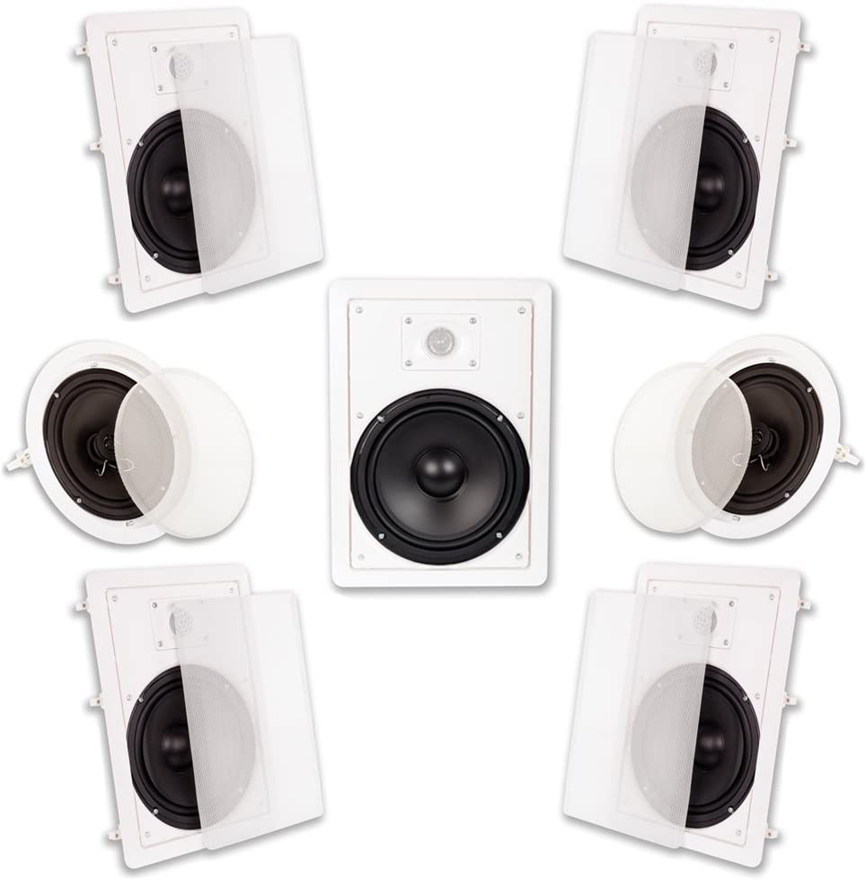 "Acoustic Audio HT-87 In Wall In Ceiling 2100 Watt 8"" Home Theater 7 Speaker System"