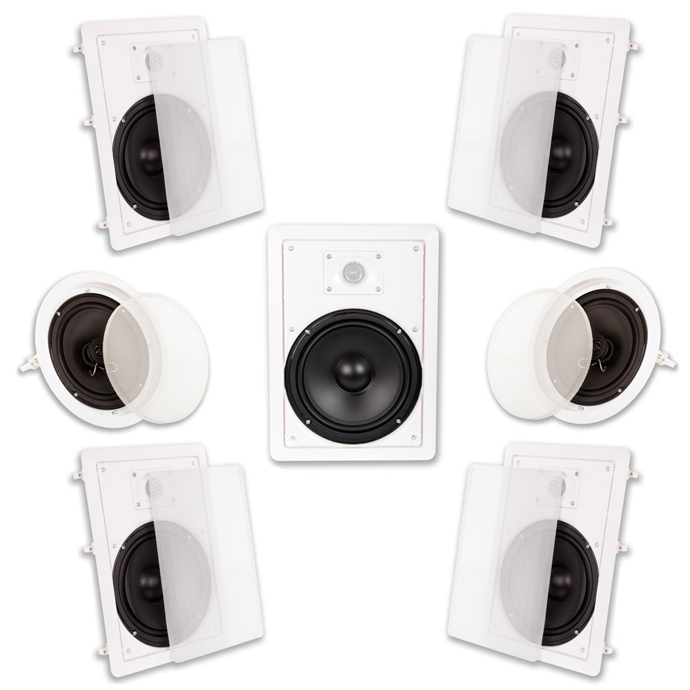 Acoustic Audio HT-87 In Wall In Ceiling 2100 Watt 8'' Home Theater 7 Speaker System by Acoustic Audio by Goldwood
