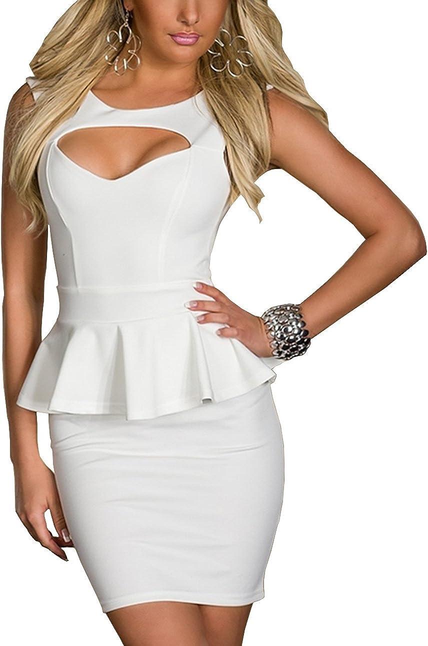 TALLA M. Boliyda Bodycan de corte bajo vestido delgado Slim club vestido informal para las mujeres Blanco2 M