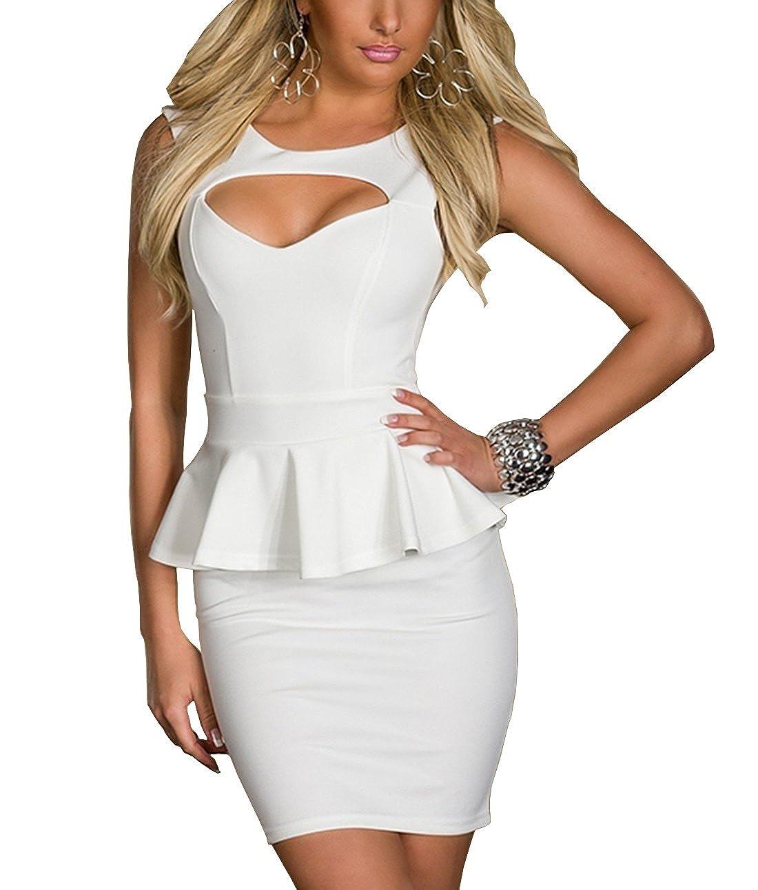 TALLA XL. Boliyda Bodycan de corte bajo vestido delgado Slim club vestido informal para las mujeres Blanco2 XL