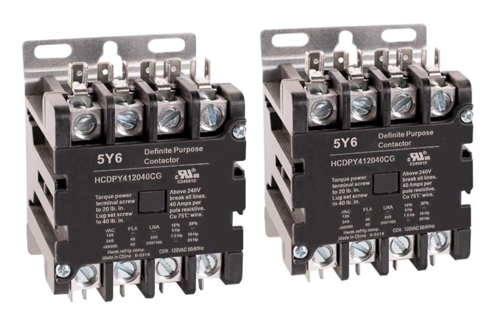 5Y6 40 Amp 4 Pole Normally Open NEMA 600V HVAC Definite Purpose Contactor – 110/120VAC Coil, Inductive 40A, Resistive 50A (Pack of 2)