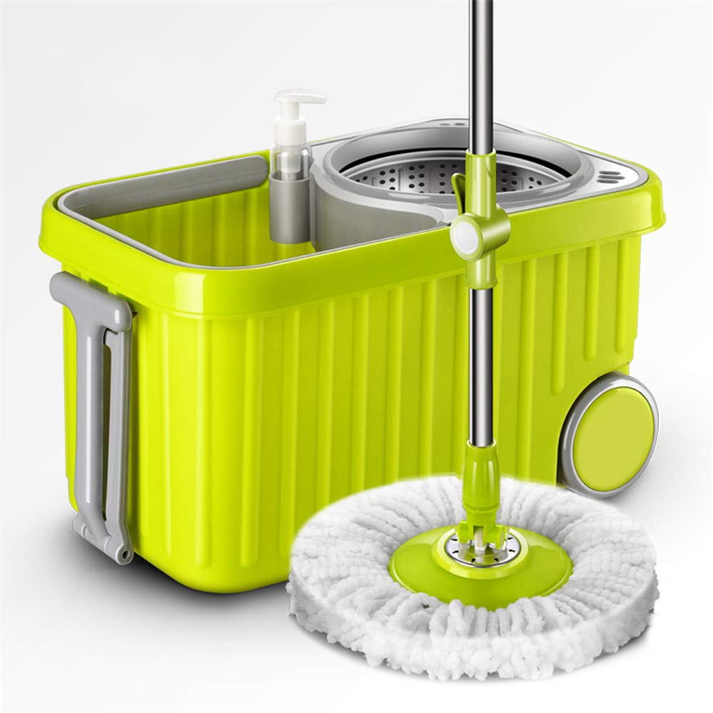 Linbing123 Microfiber Floor Mop Bucket with Wringer Best Hurricane Spin Scrubber for Floor Cleaning,with Portable Drain,Strengthening Durability
