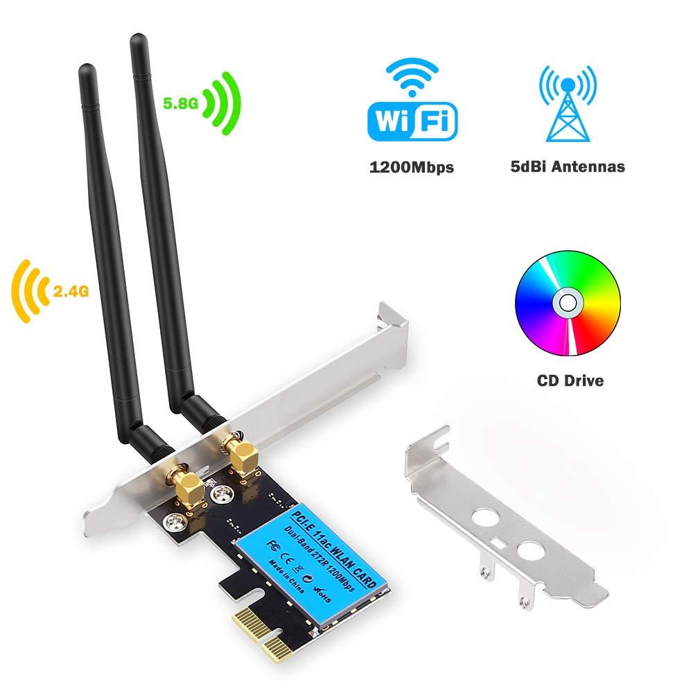 ZEXMTE Wireless Network Card AC1200Mbps PCIe Dual Band 5G/2.4G Wireless WiFi Adapter Network Card for Windows 10/Windows 8/Windows 7
