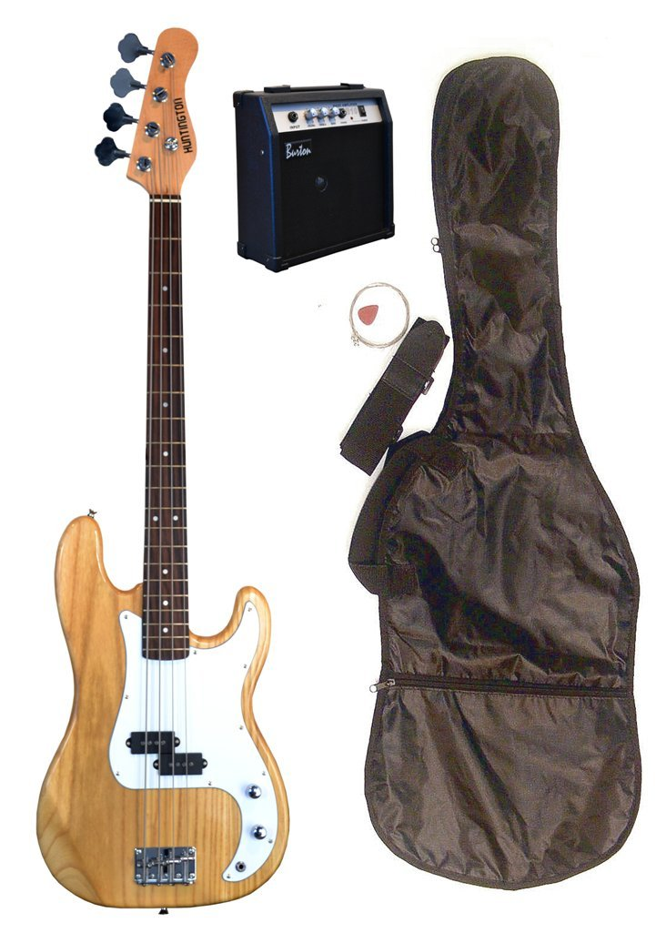 Full Size 43'' Precision P Transparent Natural Electric Bass Guitar with 10 Watt Amplifier Pack & DirectlyCheap(TM) Translucent Blue Medium Guitar Pick