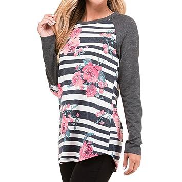 iusun Mujer Tira de diseño de flores camiseta de manga larga Tops Loose Blusa, Gris