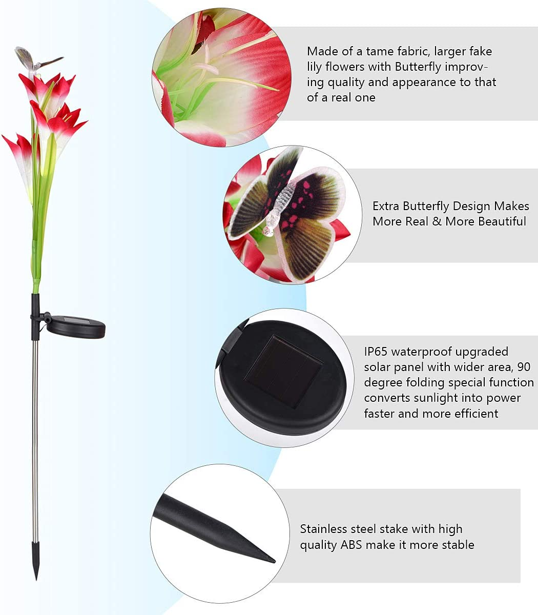 Garden Purple /& Red, 4 Packs DOOBO Solar Garden Stake Lights 7-Color Solar Lights Outdoor Decorative for Patio Backyard Upgraded Solar Flower Lights with 12 Lily Flowers /& Butterfly