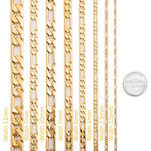 Lifetime Jewelry Figaro Chain 11MM, 24K Gold Over Semi-Precious Metals, Premium Fashion Jewelry, Hip Hop, Comes in a Box or Pouch for Gifts, Guaranteed for Life, Long, 30 Inches by Lifetime Jewelry (Image #4)