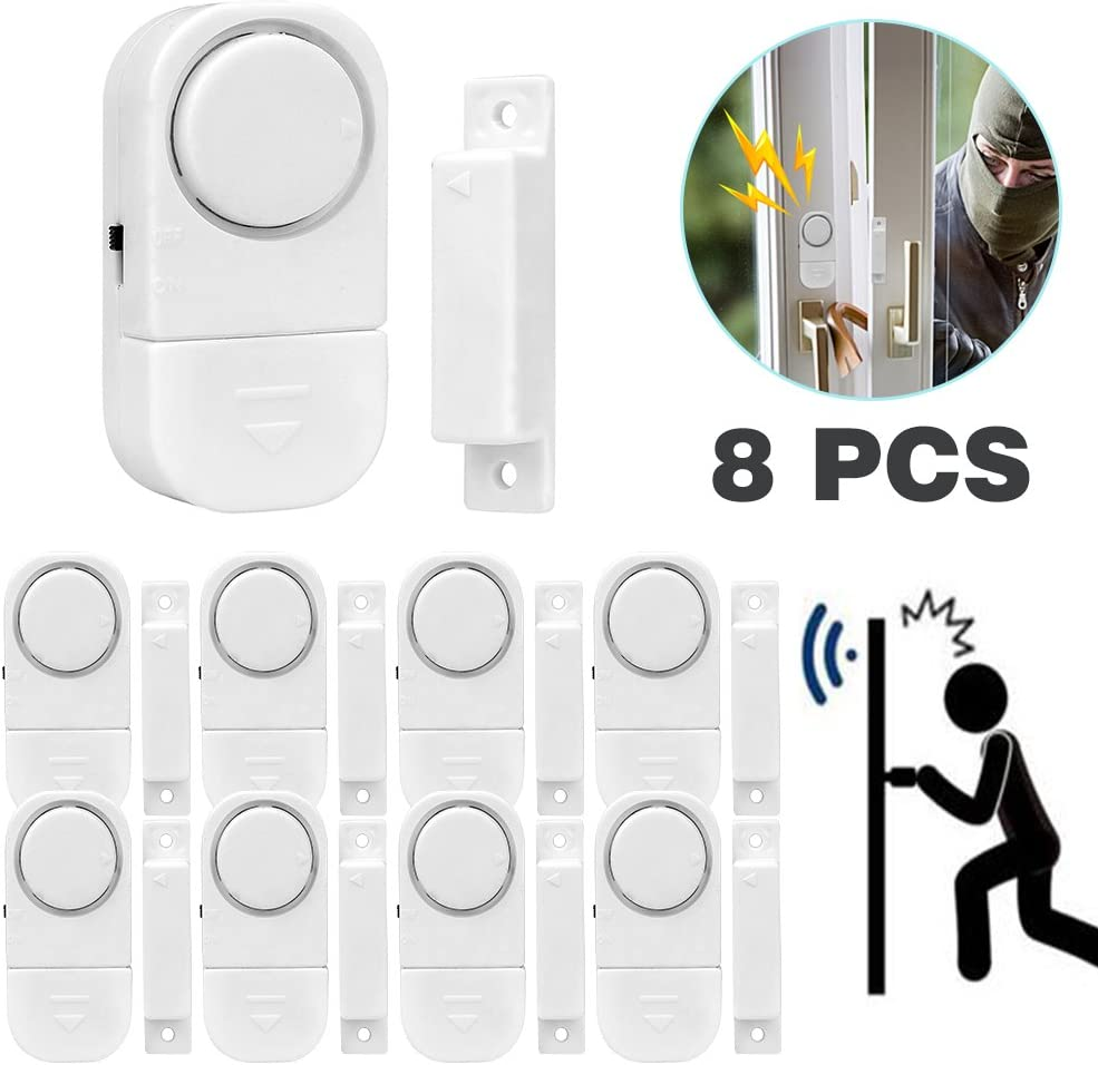 Juego de 8 detectores magnéticos de seguridad para puerta y ventana, minialarmas inalámbricas con sensor de entrada de infrarrojos, color blanco (batería incluida), marca Senweit